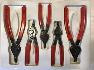 Blue Point 5 Piece Set Snap Ring Retainer Internal External Pliers W Tray