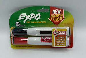 Expo Magnetic Dry Erase Markers Magnetic Eraser 2 Pack Black Red Free Ship