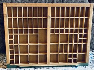 Vintage Wooden Printers Drawer Letterpress Type Set Tray Shadow Box 21 75 X 16 5