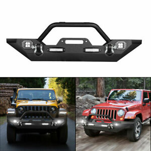 For 2018 2020 Jeep Wrangler Jl Front Bumper W Winch Plate Led Light D Rings
