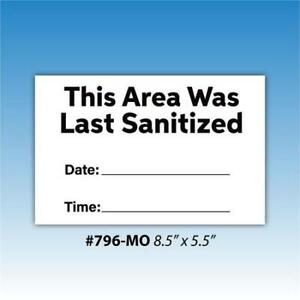 Versa tag 796 mo Dry Erase Area Was Last Sanitized 8 5 X 5 5 Decal