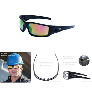 Uvex By Honeywell Hypershock Safety Glasses Black Frame With Red Mirror Lens