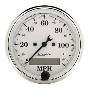 Autometer 1688 Electrical Old Tyme White Speedometer Gauge 120mph