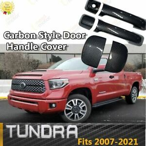 Fit For Toyota Tundra 07 21 Double Cap Door Handle Covers Trim Abs Carbon Fiber