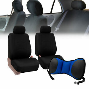 Front Bucket Seat Covers Black With Seat Back Cushion Pad Blue For Auto Car Suv