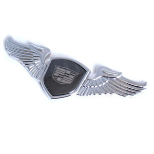Chrome Wings Badge Front Hood Ornament Emblem Sticker For Cadillac Xts Cts Srx
