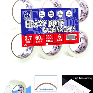 Perfectape Heavy Duty Packing Tape 6 Rolls Total 360y Clear 2 7 Mil 1 88