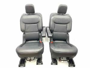 Second 2nd Row Leather Buckets Seats Pair Black c6 Power Heated 20 Ford Explorer