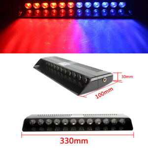 Car 12 Led Red blue Strobe Flash Light Bar Dash Emergency Grill Warning Lamp