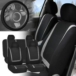 Fh Group Car Seat Covers W Microfiber Leather Steering Wheel Cover Auto Van Suv Fits Honda Civic