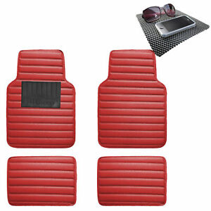 Auto Floor Mats Leather Universal Fitment Car Suv Red W Black Dash Pad