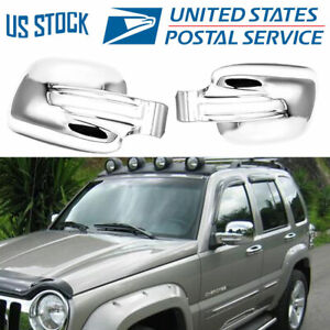 For 2002 2003 2004 2005 2006 2007 Jeep Liberty Chrome Side Mirror Covers Trims