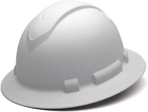 Pyramex Ridgeline Full Brim Hard Hat 4 point Ratchet Suspension Matte White