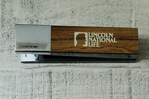 Vintage Acco 20 Stapler Steel Heavy Classic Retro Wood Silver Lincoln National