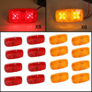 16x Red amber 10 Diodes Trailer Marker Led Light Double Bullseye Clearance