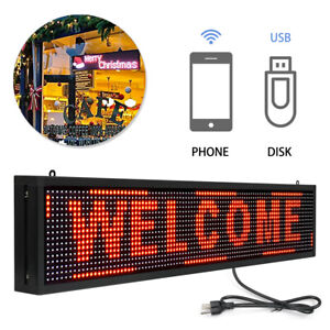 40 X 8 Red Indoor Led Sign Programmable Scrolling Message Board Hanging
