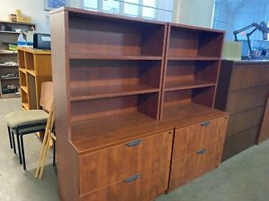 2dr Lateral File Cabinet W Open Hutch By Marquis Office Furniture In Cherry