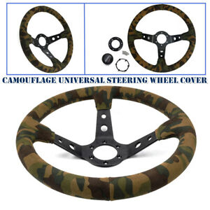 350mm 14 Universal Racing Car Deep Dish Suede Camouflage Steering Wheel Cover