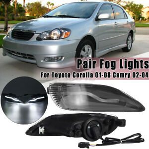 L r Led Front Fog Light Lamp Clear For Toyota Corolla 2001 2008 Camry Us Us
