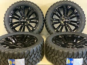 Oem Factory Fit Triple Black Chevy Gmc Sierra Wheels Rims Tires 22 High Country