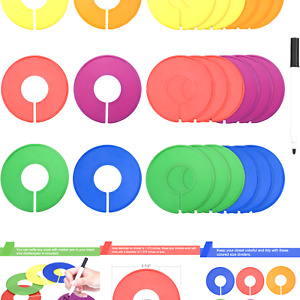 Blulu Colored Blank Closet Size Dividers Round Clothing Rack Dividers 24 Piec