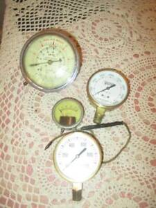 4 Vintage Vacuum Fuel Oil Guages Steampunk Snap on Usg Victor