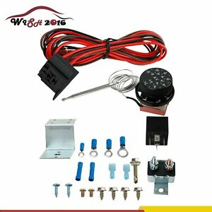 Adjustable 12v Electric Radiator Fan Thermostat 3 pin Control Relay Wire Kit New