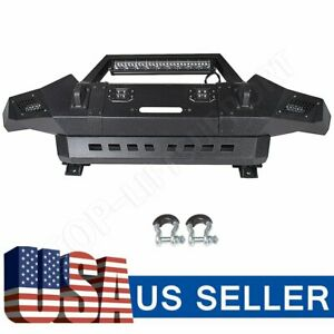 Textured Heavy Full Width Front Bumper W Winch Plate Led For 05 15 Toyota Tacoma