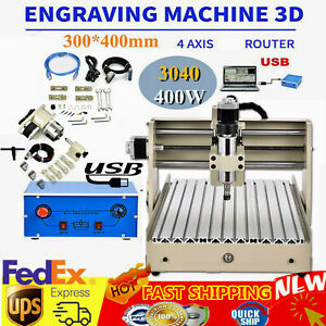 New 4 Axis Usb Cnc Router 3040t Engraver Metal Wood Cut Drill Mill Machine 400w
