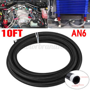 10feet An6 Nylon Stainless Steel Braided Fuel Oil Gas Hose Line Pipe Black