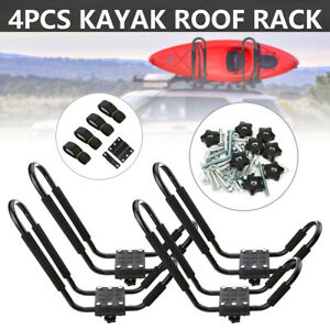 4pcs Boat Kayak Canoe Roof Rack Car Truck Top Mount Carrier J bar Surf Board