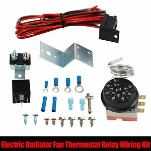 12v Electric Radiator Fan 3 pin Adjustable Thermostat Control Relay Wire Kit