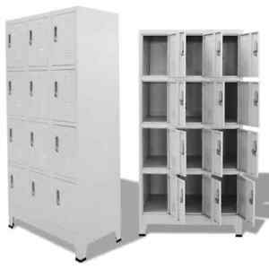 Us Locker Cabinet W 12 Compartments Wardrobe Office Gym Storage Organizer
