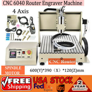 Usb 4 Axis Cnc 6040 Engraver Machine Engraving Drilling Carving 1500w Water cool