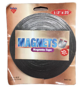 Magnetic Strip Tape 1 2 Inch X 25 Feet Roll Adhesive Backed Flexible Magnet New