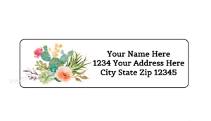 30 Cactus Flowers Personalized Return Address Labels 1 In X 2 625 In