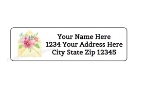 30 Envelope With Flowers Personalized Return Address Labels 1 In X 2 625 In