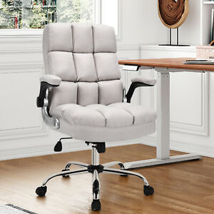 Costway High Back Big Tall Office Chair Height Adjustable Swivel W flip up Arm