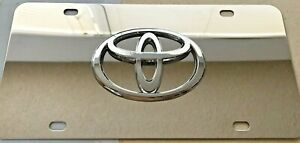 Toyota 3d Mirror Chrome Stainless Steel License Plate With 4x Chrome Caps