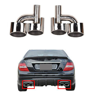 For Benz W204 C Class C63 C300 C350 Amg Style Exhaust Muffler Pipe Tip Stainless