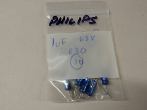 Philips 1uf 63v Axial Lead Electrolytic Capacitors Qty 10 Nos
