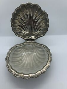 Vintage F Jl Clamshell Serving Butter Dish Silver Plated Footed England