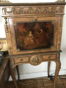 Antique 19th Century French Secretaire Desk Louis 15th Fine Painting 51 Tall