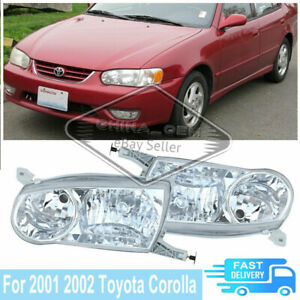 For Toyota Corolla 2001 2002 Clear Lens Headlight Headlamps Bumper Lamps Housing