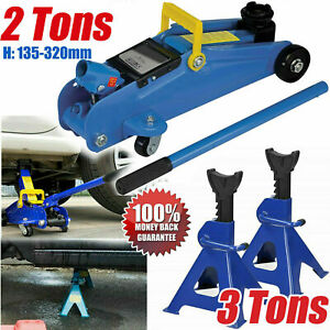 3 2 Ton Low Profile Floor Jack Stand Combo Car Truck Lift Shop Hydraulic Trolley