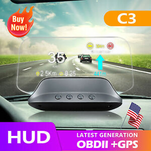 Car Hud Display Obd2 Gps Speed Projector Auto Speedometer Smart Gadgets Water