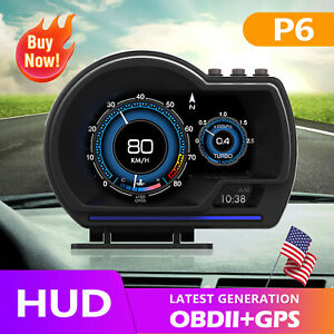 Obd2 Gps Gauge Head Up Car Hud Digital Display Speedometer Rpm Alarm Temp