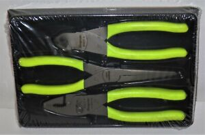 New Snap On Pliers Set 3 Pcs Yellow Handles Pl307acfhv Cutter Needle Nose