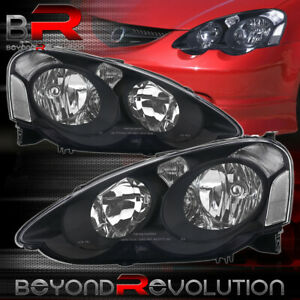 Black Headlights For 02 04 Acura Rsx Dc5 Clear Reflector Signal Lamp Replacement