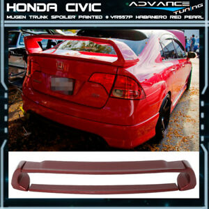 06 11 Civic Mugen Style Trunk Spoiler Painted yr557p Habanero Red Pearl